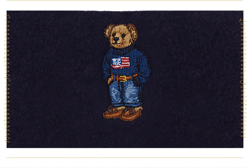 Embroidered Polo bear wearing American flag sweater, jeans & boat shoes