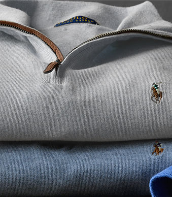 Men's half-zip sweaters in taupe & blue with leather-trimmed plackets
