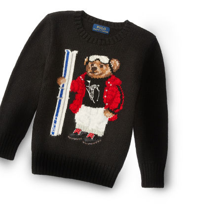 Boys' black sweater knit with a Polo Bear holding skis