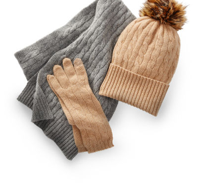 Women's grey cable-knit scarf & matching taupe hat & gloves
