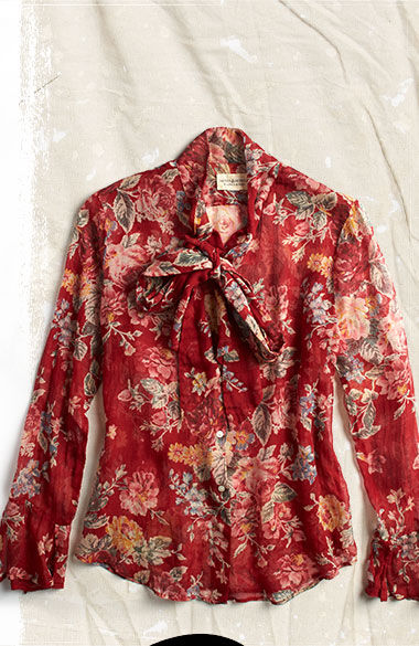 Red floral blouse with a tie front