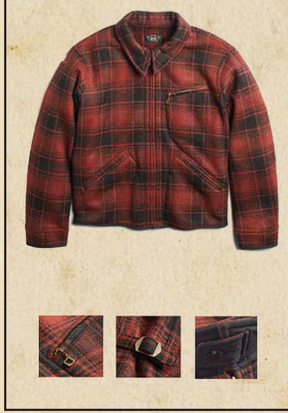 Red plaid wool jacket & details of jacket's zipper pulls & other hardware