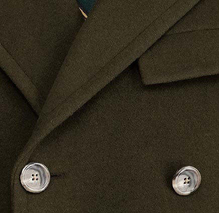 Close-up of double-breasted overcoat's horn buttons