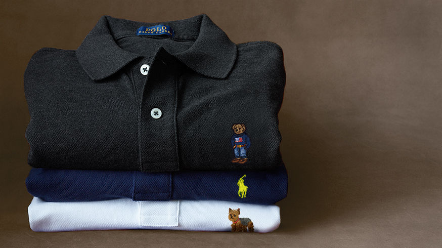 Polo shirts in black, blue & white with personalized embroidery