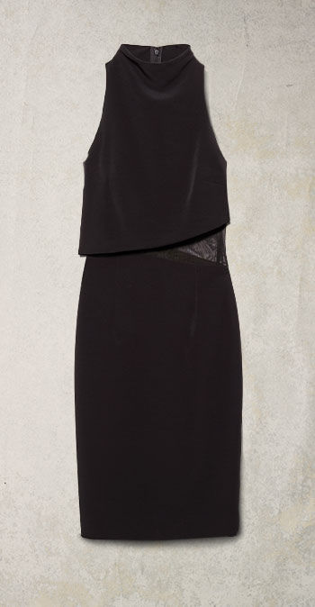 Black sleeveless dress with asymmetical mesh panel at the left side