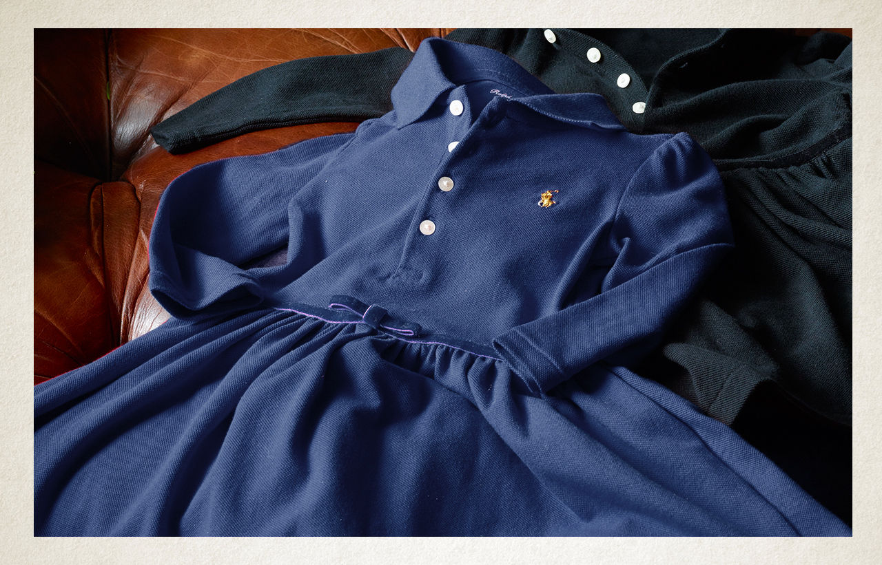 Navy long-sleeve fit-and-flare Polo dress with gold signature pony