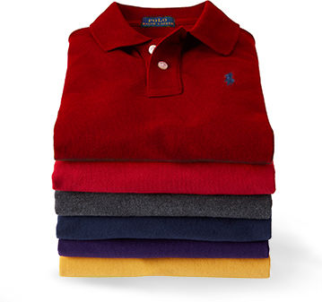 Stack of folded Polo shirts in burgundy, red, grey, blue, purple & yellow