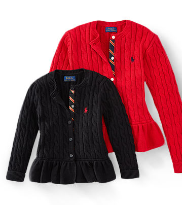 Two peplum cable-knit cardigans in red & black