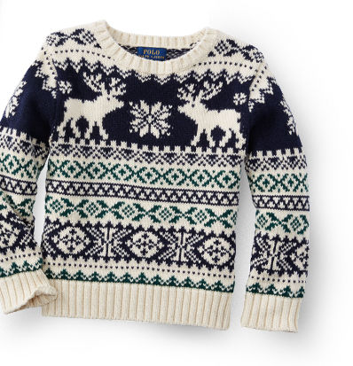 Sweater knit with blue, green & cream Fair Isle pattern featuring reindeer