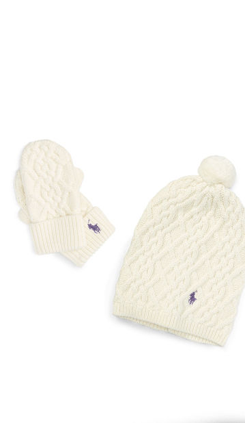Girls' white mittens & hat with red intarsia-knit designs